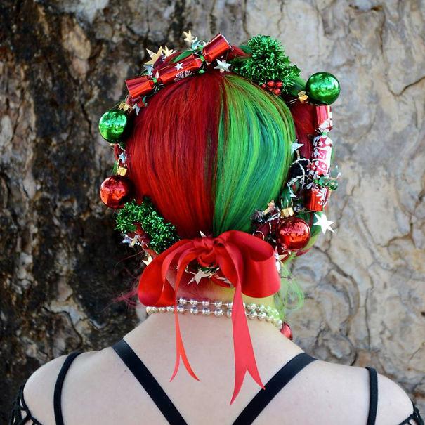 37. Рождественский венок волосы, праздник, прическа, рождество