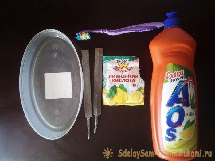 Очистка от ржавчины и восстановление свойств напильников