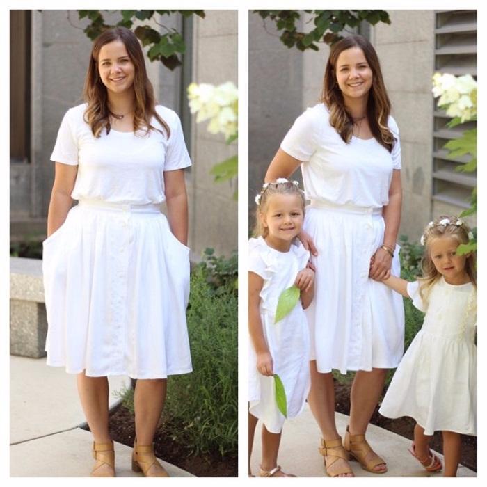 Талантливая мама перешивает старые рубашки мужа в удивительные наряды для своих дочек