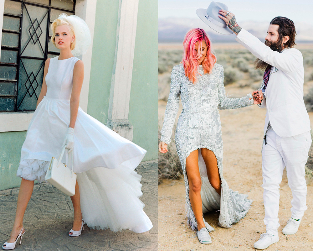 Подборка коротких свадебных платьев со шлейфом