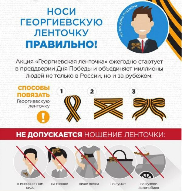 Как правильно носить Георгиевскую ленточку
