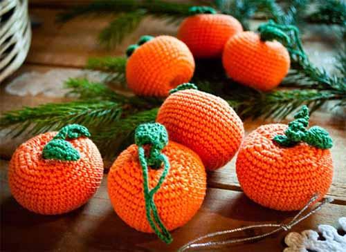 как связать мандарин на елку