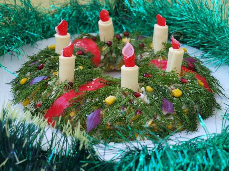 """Салат """"Рождественский венок"""". 8 оригинальных закусок к новогоднему столу."""