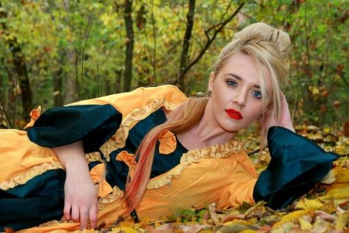 Девушка, Принцесса, Платье, Осень