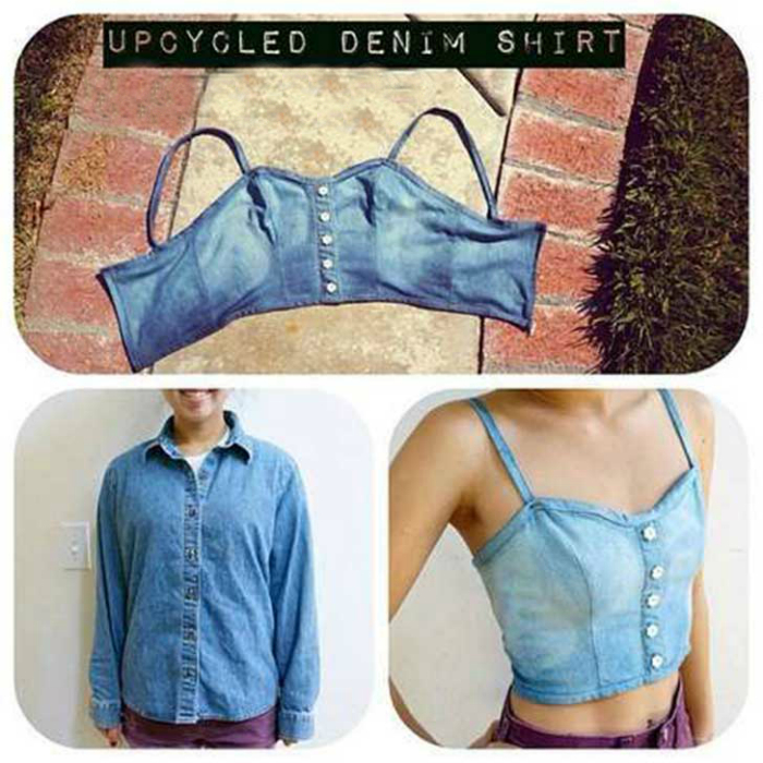 Топ из джинсов DIY / Переделка джинсов / Своими руками - Pinterest