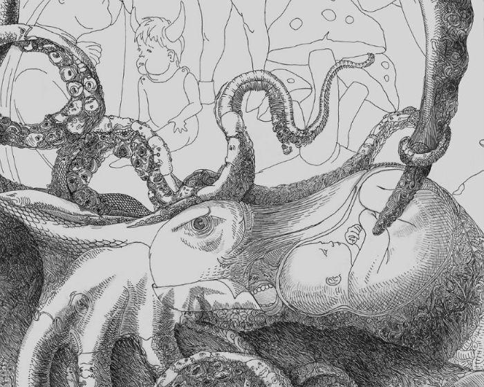 Из всего богатого художественного арсенала Юханян выбрал для себя лишь капиллярную ручку и листы белой бумаги 70x100 см