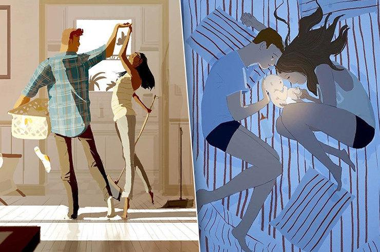 Франко-американский художник рисует нежные иллюстрации о жизни с женой
