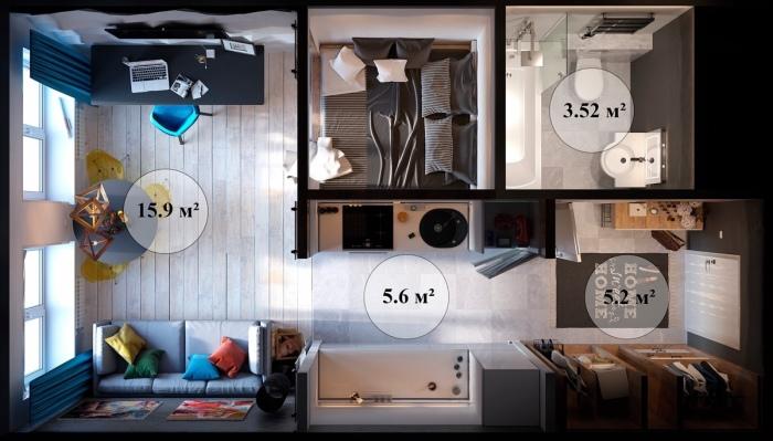 30, 22 квадратных метра - площадь этой уютной и компактной квартиры.