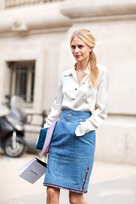 С чем носить джинсовую юбку карандаш. 10 стильных советов, фото