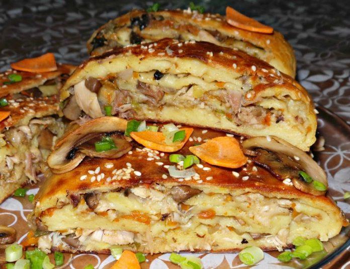 Картофельный рулет с курицей и грибами к званому ужину!
