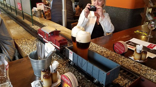 Our Beer At A Restaurant In Prague Was Delivered By A Miniature Train