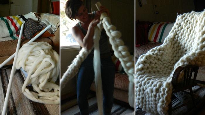 Одеяло, связанное спицами размера XXL: поэтапные кадры