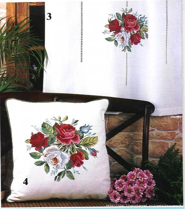 Красивая вышивка для подушки и гардины. Розы