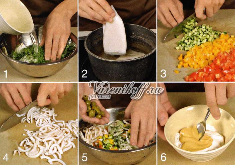 Простые и вкусные салаты с кальмарами - топ 5