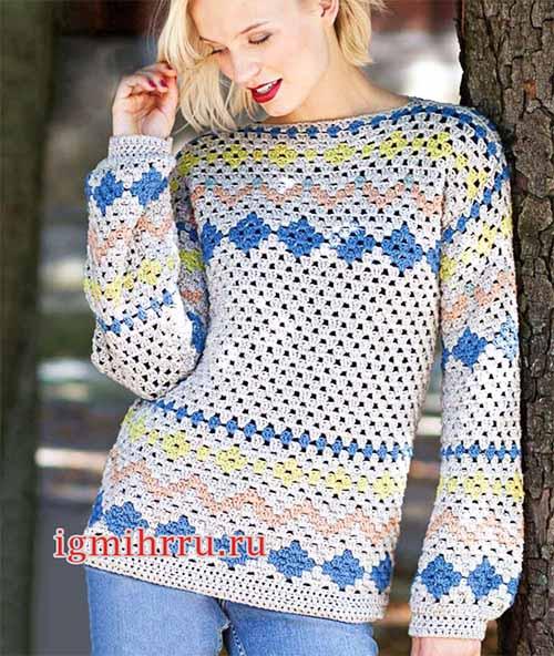 пуловер в норвежском стиле