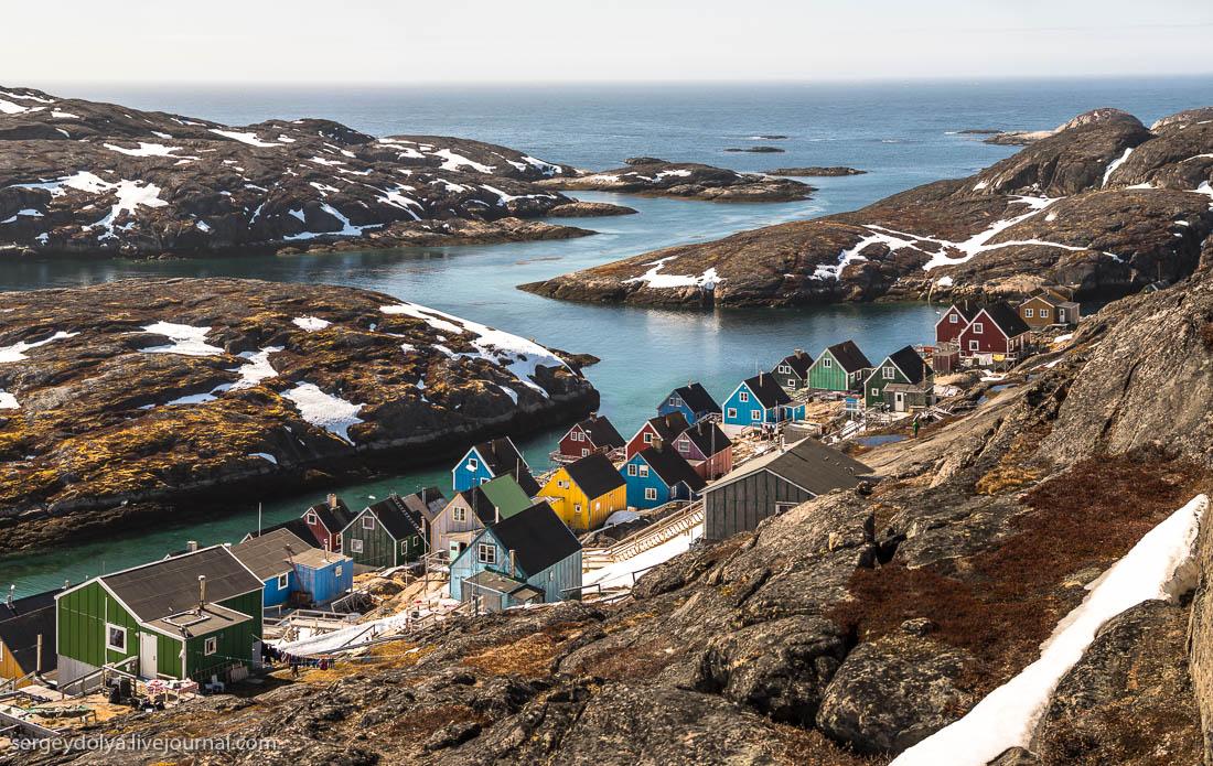 Живописный рыбацкий поселок в Гренландии