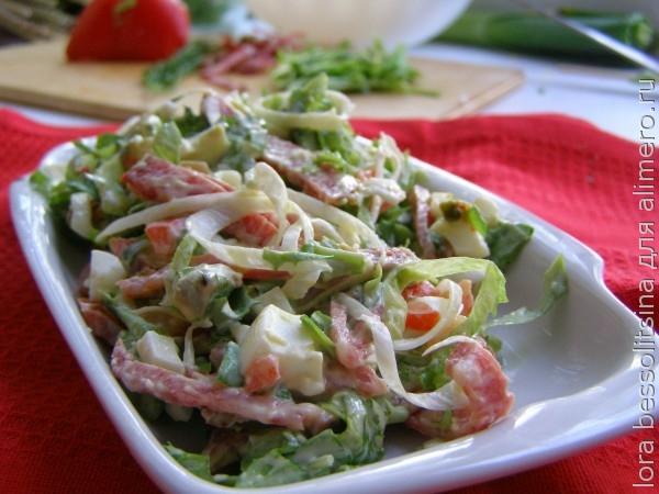 Салат из колбасы и грудки