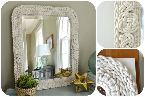 Как украсить зеркало канатом и узлами?