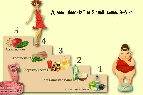 Суперэффективная диета «Лесенка»: 5 дней — 5 ступеней. Результат виден и без весов!