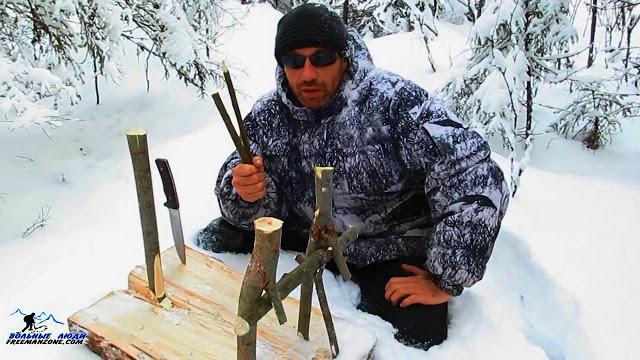 Петля - ловушка на зайца (живоловушка подъемная/переставляемая). Как сделать и установить зимой