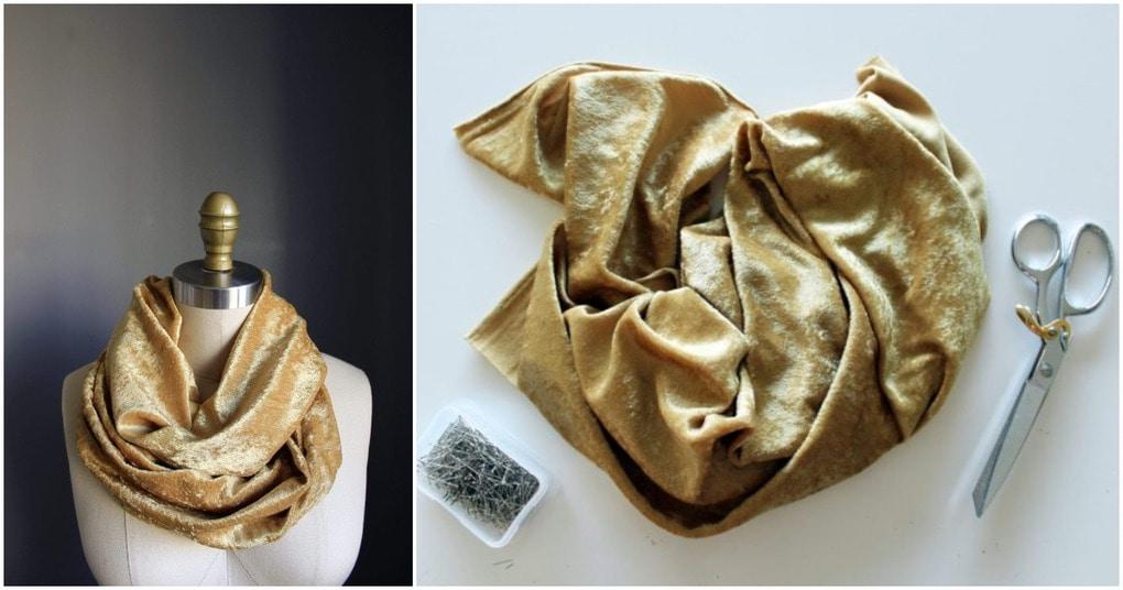 Готовимся к холодам: шьем уютный, бархатный шарф-снуд за 20 минут