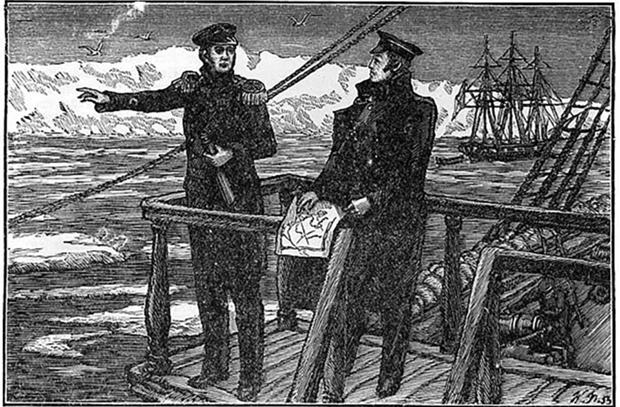 Беллинсгаузен и Лазарев у берегов Антарктиды. Рисунок П. Я. Павлинова, гравировал Л. С. Быков