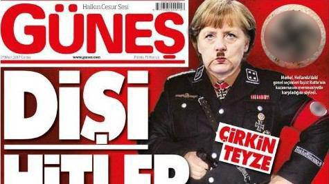 """""""Фрау Гитлер."""" Меркель появилась в нацистской форме на обложке турецкой газеты"""