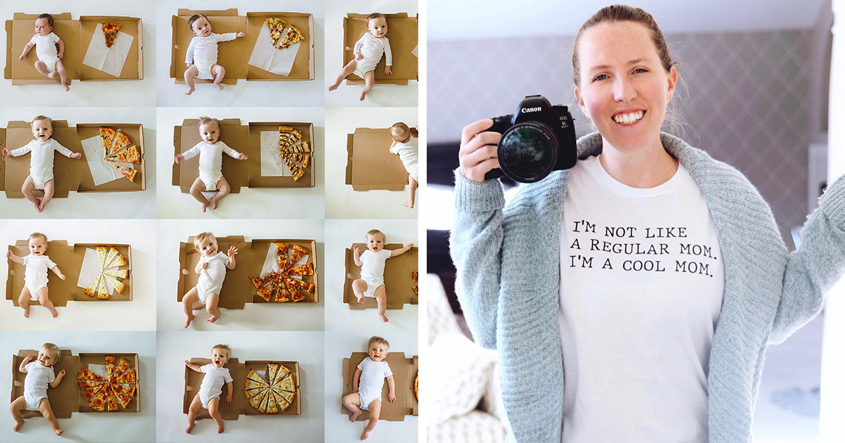 Creative Mom Photographs Her Son's First 12 Months Using Pizza Slices