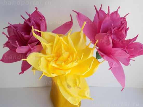 Цветы из салфеток своими руками для начинающих и профессионалов