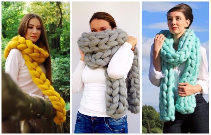 Вяжем модный объемный шарф без спиц
