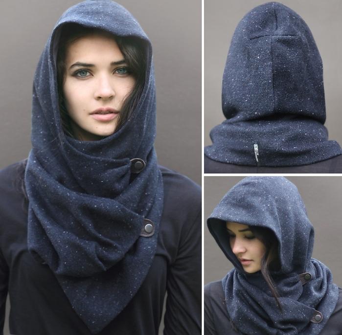 Для межсезонья: платки-шарфы а ля капюшон со схемами