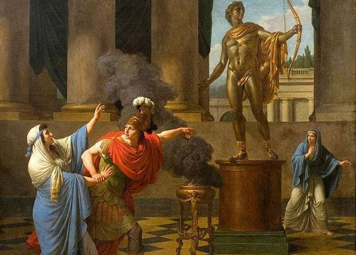 Александр просит совета у оракула бога Аполлона. | Фото: allday.com.