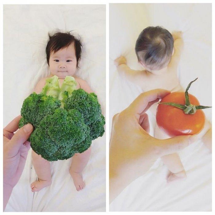 "Веселые фото младенца в ""съедобных нарядах"""