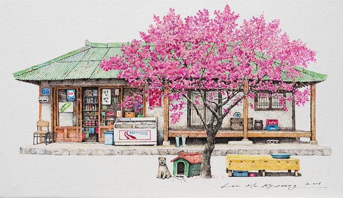 Художница провела 20 лет, делая изумительные эскизы маленьких магазинов Южной Кореи