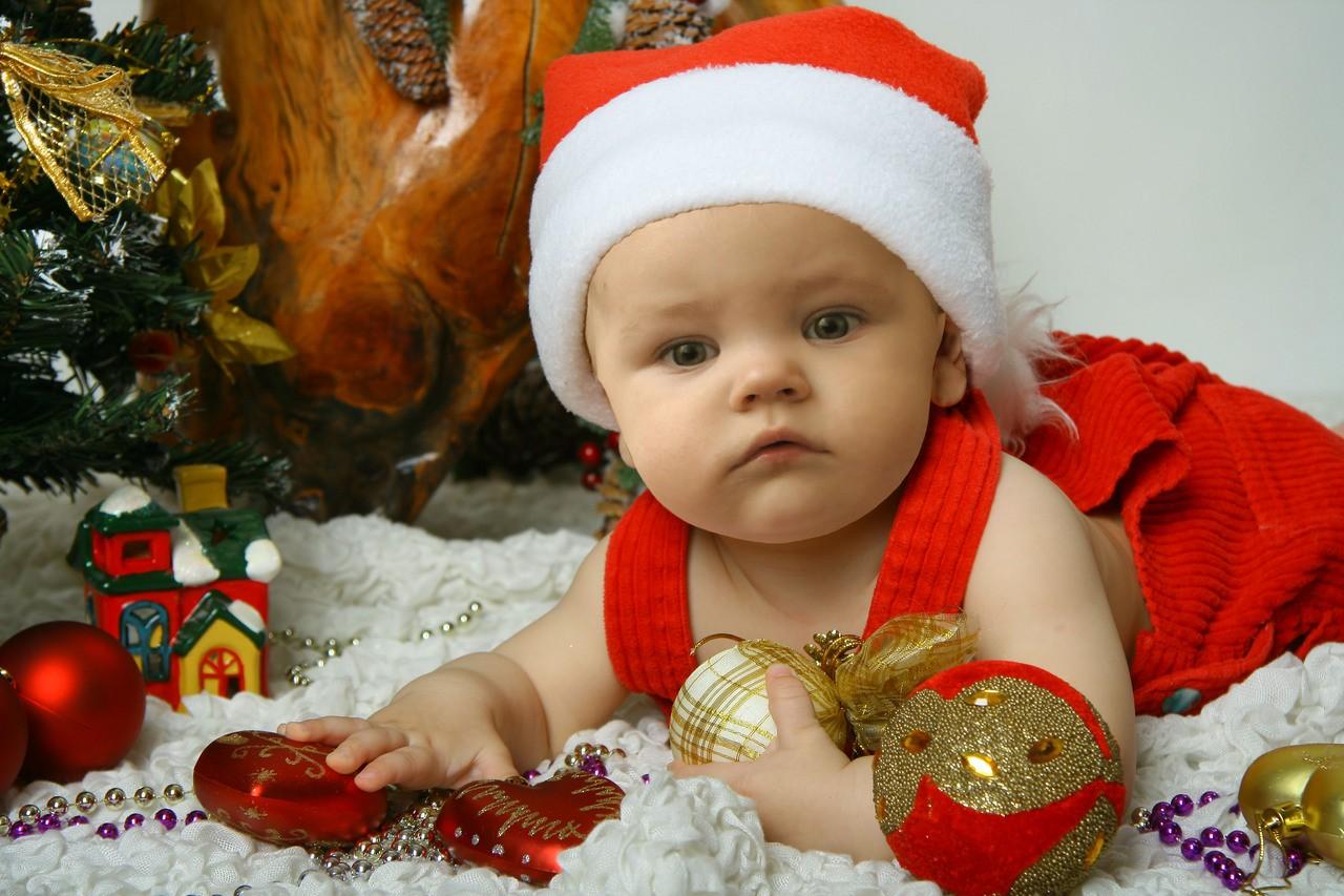 Новогоднее фото детей до года