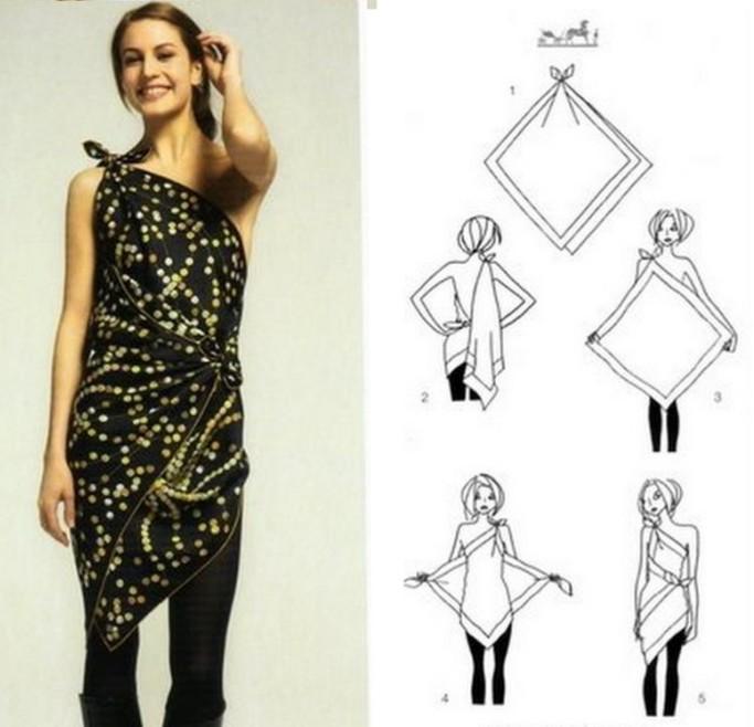 Как сшить платье из двух платков своими руками фото