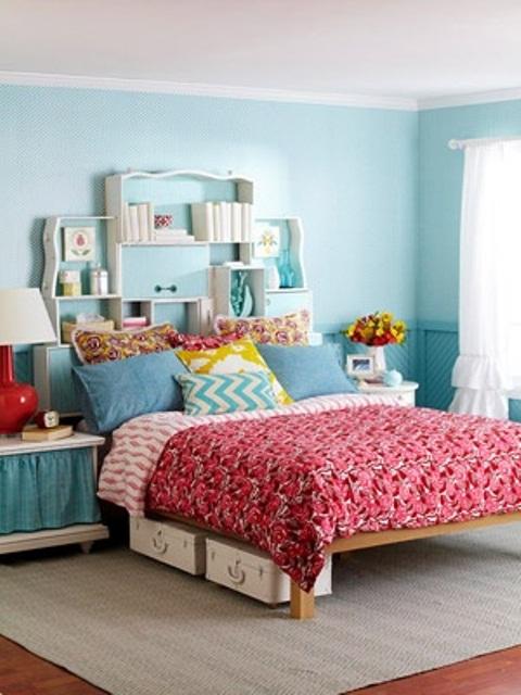 Blue Red Bedroom