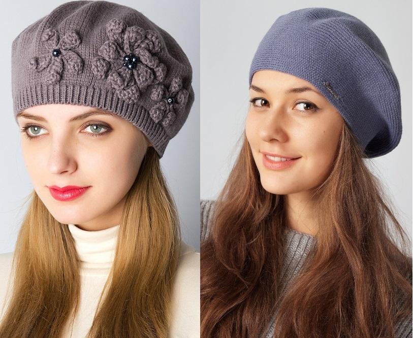 Вязаные модные шапки и береты