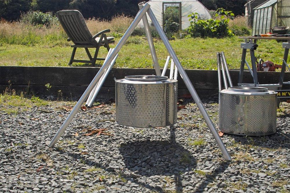 Печь тренога из барабана стиральной машины