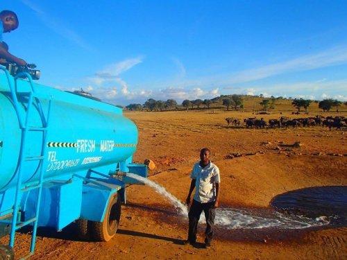 Каждый день этот человек часами везет питьевую воду для умирающих от жажды зверей