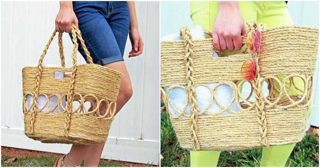 Необычный способ изготовления плетеной сумки с помощью пенопласта