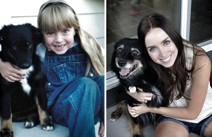 До и после: 30 фотографий собак, которые выросли вместе со своими владельцами