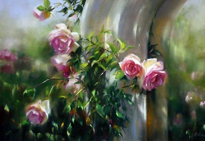 Задумчивая цветочная нежность в творчестве художницы Мэри Эслин (Mary Aslin)