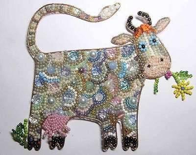 гламурная корова из бисера и проволоки своими руками в подарок