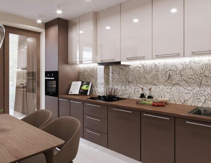 """Классическая вариация цветов """"бежевый-коричневый"""" - одно из популярных решений во многих стилях. Бежево-коричневая тон гармонично смотрится с контрастным экраном и кухонным гарнитуром покатой формы."""
