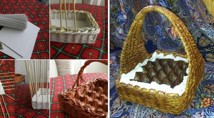 пасхальная корзинка из упаковки из-под яиц