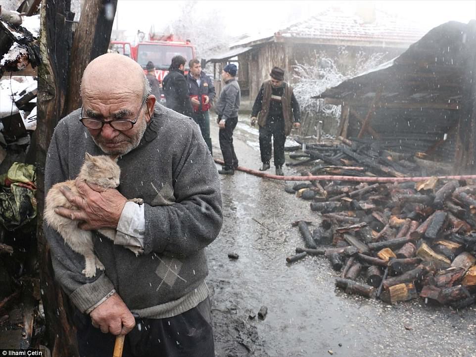 Старик обнимает выжившего котенка, все, что у него осталось после пожара. До слез!