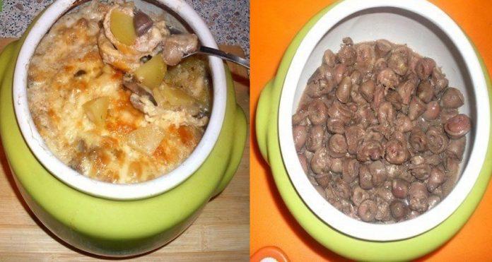 Жаркое из сердечек с грибами в горшочке или очень быстрый вкусный ужин!