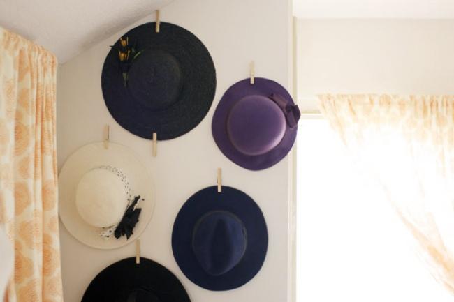 Хранение шляп с полями
