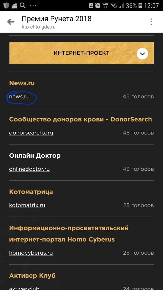 Премия Рунета 2018 открыла Народное голосование